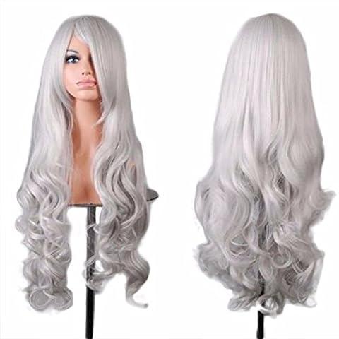 Tianya Filtre 1pièce Femme Long ondulés Cheveux bouclés Perruques résistant à la chaleur Anime Cosplay Party complet Perruques avec frange, Silver, Length: 80cm