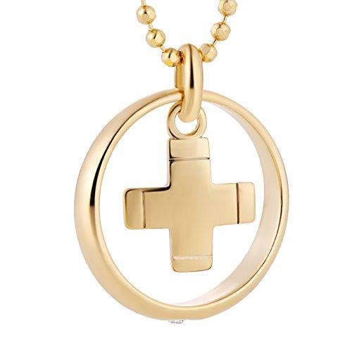 fish Jungen, Mädchen-Silberkette 925 Sterlingsilber Taufring Kreuz mit Swarovski Elements klar vergoldet 38 cm, Taufschmuck