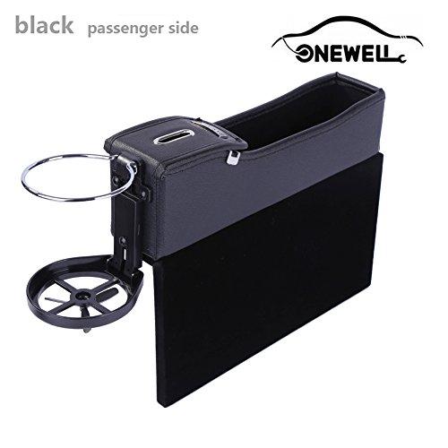 Onewell Multifunktionale Autositz Leder Aufbewahrungs box, Console Seitentasche, Gap Catcher mit Münz-Organizer und Getränkehalter(Schwarz, Beifahrerseite) (Unter Dem Sitz Aufbewahrungsbox)