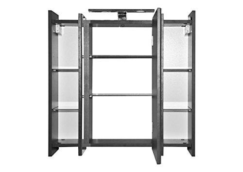 Galdem ELEGANCE Spiegelschrank 70cm Badezimmerschrank Wandschrank Badmöbel 3 Spiegeltüren LED Beleuchtung 6 Einlegeböden Anthrazit - 2