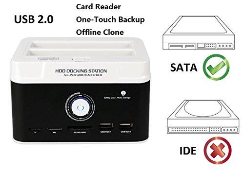 Ronsen 895U2SC Externe Festplatte Docking Station - USB 2.0 Dual Bay Festplattenleser für 2,5 / 3,5 Zoll SATA I / II HDD SSD, mit All-in-1 Kartenleser (SD / XD / Micro SD / TF / MS / M2 / CF / MD Karte), One Touch Backup und Offline Clone Funktion, Unterstützung 2x 8TB, Tool-Free