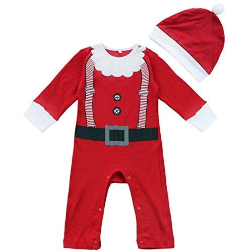 Freebily Disfraz de Papá Noel para Bebé Niña Niño Unisex Pelele Body Mono de Navidad Fiesta Bautizo con Gorro para Recién Nacido Rojo 0-3 Meses