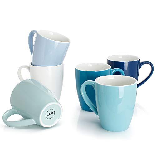 Sweese 601.003 Kaffeebecher Kaffeetassen 6er Set aus Porzellan, Tasse mit großem Henkel für Heißgetränke, Blaue Serie, 400 ml