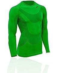 Camiseta de manga larga color lima F-lite Body Megalight 140 para hombre, negro/verde, L, 15-1070-8-2-0017