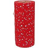 Rouleau Tulle Sequin pour Couture Tutu Artisanal Décor de Mariage 22mx15cm (Rouge )