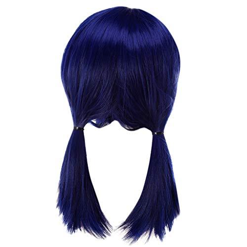LMRYJQ Lang Haar Wigs für Karneval Cosplay Perücke Miraculous Ladybug Perücke Doppel Pferdeschwanz Anime Cosplay ()