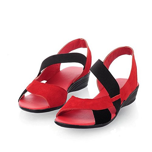 AllhqFashion Damen Gemischte Farbe Nubukleder Elastic Band Keilsandale Mit Plateau Rot