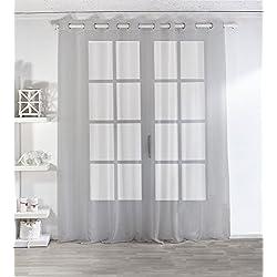 Enjoy Home 2001GR300240 Voilage Sablé Grande Largeur 300x240cm avec 8 Œillets Gris, Polyester, 240x240 cm