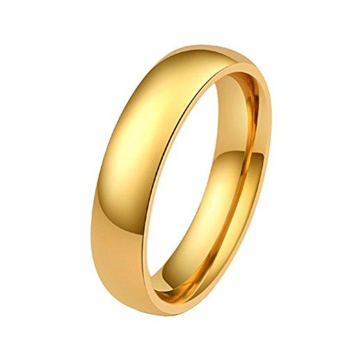 Pauro unisex acciaio inossidabile lucidato oro pianura fede nuziale tradizionale 5 millimetri taglia 17