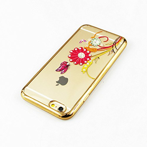 iPhone 6S Plus Hülle Silicone,iPhone 6S Plus Hülle Glitzer,iPhone 6S Plus / 6 Plus Hülle TPU Case Schutzhülle Silikon Crystal Clear Case,EMAXELERS iPhone 6S Plus Hülle Bunte Blumen Schmetterling Muste Gold TPU 4