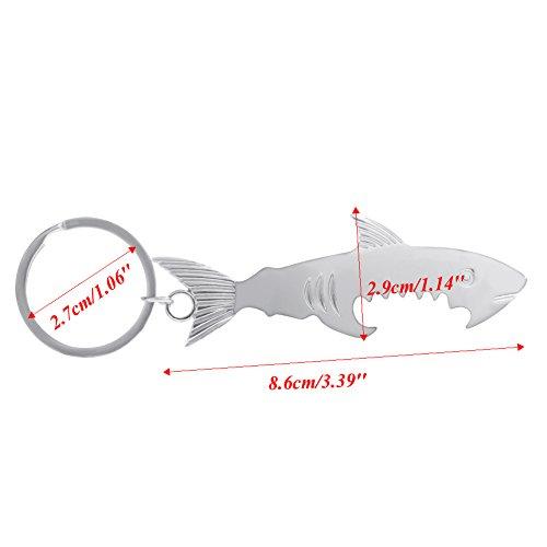 Besttse - Llavero de tiburón creativo con abrebotellas, llavero de metal plateado