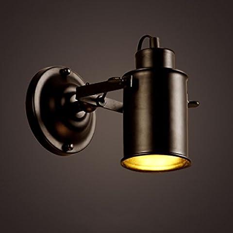 Lying Eisen Wand Lampe, Retro Led Kleidung Store Wohnzimmer Gang Bar Bar Dekoration Wand Lampe Cafe Schlafzimmer Nachttisch Lampe einzigen Kopf COB Chip 8,5 * 17cm Lamp Cap kann gedreht werden finden ( größe : 8.5*17cm )