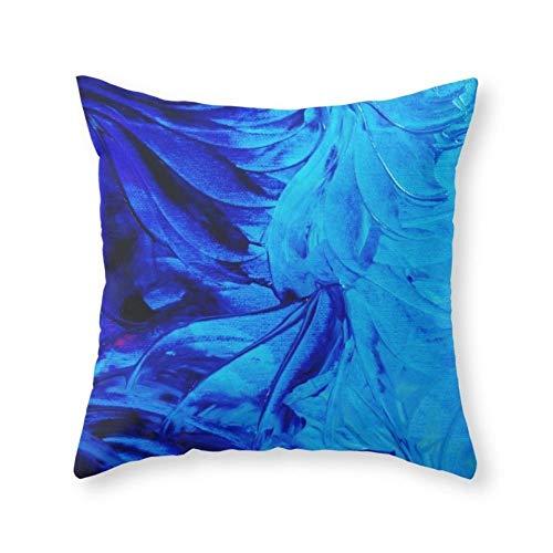 Royal Blue Swirl (Qian Mu888 Petal PINWHEELS - Deep Indigo Blue Royal Blue Turquoise Floral Pattern Swirls Ocean Water Flowers Throw Pillow Indoor Cover (18