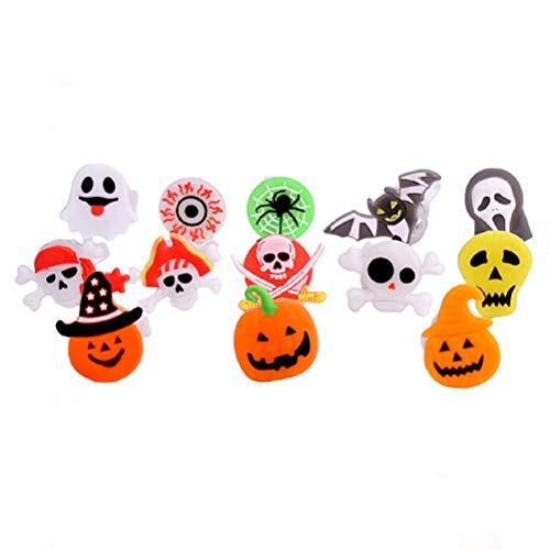 Toyvian 50 stücke led leuchten blinkende Ringe kürbis Geist schädel Form Halloween Spielzeug für Kinder Halloween gastgeschenke (zufällige Farbe Muster)