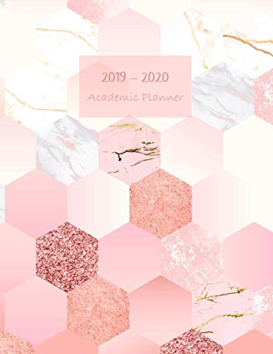 2019-2020 Academic planner: Aug 2019 - Sep 2020. Weekly planner. Sunday start week. With gratitude journal. Habit, mood/weather, water intake ... (Large). (Hexagon tiles pink white cover). (Personal Cover Weather)