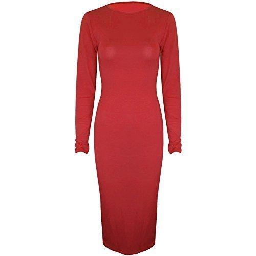 Be geloso - elastico teir Jersey a maniche lunghe collo aderente con scollatura rotonda paccs dell'abito Rosso