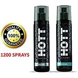 Hott NOIR & AQUA Perfume Combo For Men, 135ml (Each)