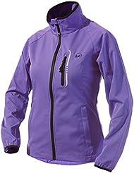 Ultrasport 11130 Veste d'extérieur femme Softshell fonctionnelle Mia pour le jogging / le sport avec Ultraflow 5.000 Noir Pourpre S