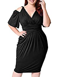 Kanpola Fashion Womens Cold Shoulder Plus Size V-Neck Strapless Sexy Solid Color Casual Ruched Short Sleeve Dress