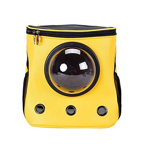 DDOOGG Haustierrucksack PU Large Space Pet Rucksack Träger U-förmige weiche seitige Haustier transparente Rucksack Tasche für Katzen Hunde atmungsaktive Schulter Pet Travel, gelb -
