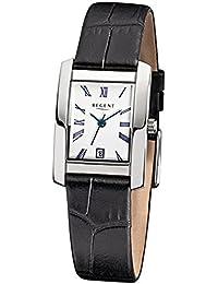 Regent de mujer reloj de pulsera elegante Analog correa de piel Negro Reloj de cuarzo esfera