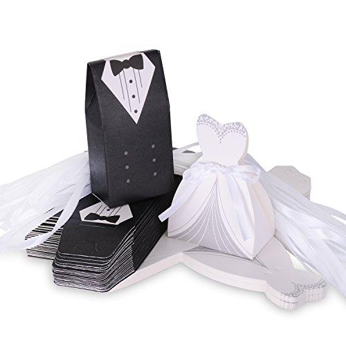 Wolfteeth 200 pz scatolina scatola regalo portaconfetti confetti bomboniera segnaposto matrimonio decorazioni anniversario -100 pezzi sposa(con nastrino) & 100 pezzi sposo