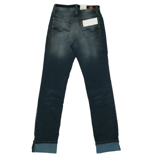 MAC, Stretch Jeans, Carrie Pipe Stitchup,Stretch Denim,darkblue used dirty crashed [10066] Offwhite