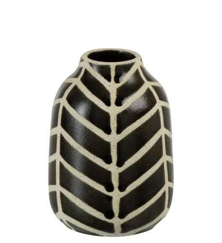 Le Drugstore Modern Ethno-Vase aus Keramik, Braun und Beige