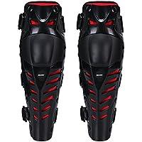 Rodilleras (38 x 10 cm, ajustables, cómodas para todo tipo de terreno, carreras, bicicletas, motocross y monopatín, 1 par), Black with Red, 15.4*4.3 Inches