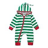 Riou Weihnachten Set Baby Kleidung Pullover Pyjama Outfits Set Familie Infant Baby Jungen Mädchen Jungen Weihnachten Xmas gestreiften Kapuzenspielanzug Jumpsuit Outfit (70, Grün)