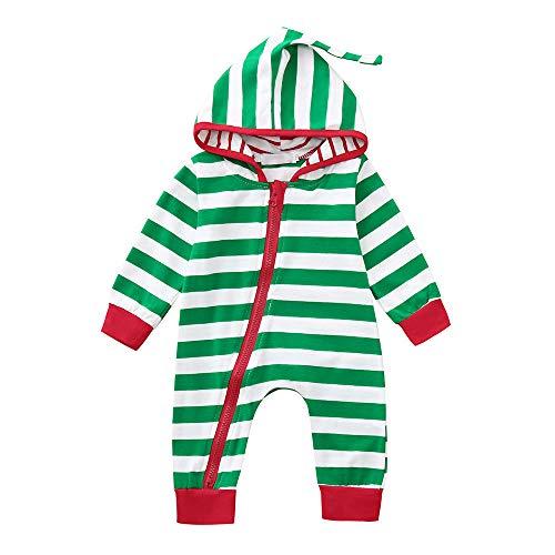 Riou Weihnachten Set Baby Kleidung Pullover Pyjama Outfits Set Familie Infant Baby Jungen Mädchen Jungen Weihnachten Xmas gestreiften Kapuzenspielanzug Jumpsuit Outfit (100, - Junge Im Gestreiften Pyjama Kostüm