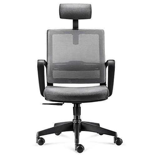 Intey - Sedia da ufficio ergonomica con schienale a rete, sedia girevole da scrivania con poggiatesta, altezza, tensione dell\'angolo di inclinazione e supporto lombare regolabili.
