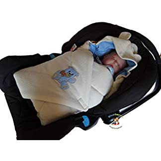 BlueberryShop Thermo Terry manta con capucha para envolver al bebé en coche | Saco de dormir para bebés recién nacidos | Regalo perfecto para Baby Shower | 78 x 78 cm