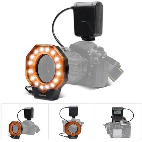 Shoot LED Macro Ring Flash Light + 8 Rings DSLR Kamera Makro Ring Blitz Licht