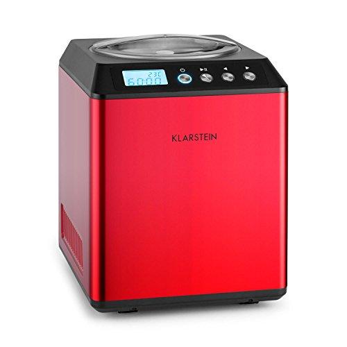 Klarstein vanilla sky • macchina gelato • 180 watt • capacità di 2 litri • funzione di raffreddamento • timer • 30-40 min • display a led • facile da pulire • acciaio inox • cucchiaio • rosso