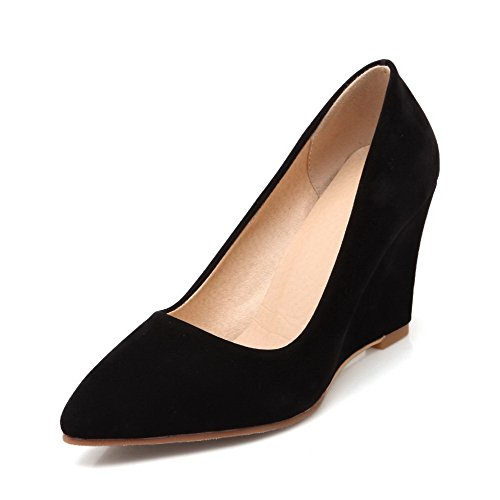 Pontas Senhoras Agoolar Toe De Salto Alto Tração Em Um Puramente Bombas Sapatos Pretos