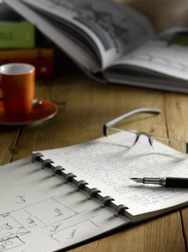 ATOMA - Quaderno per appunti, formato A4, fogli a quadretti, con 144 pagine / 72 fogli sostituibili, carta a prova d'inchiostro da 90 g/m², colore: crema