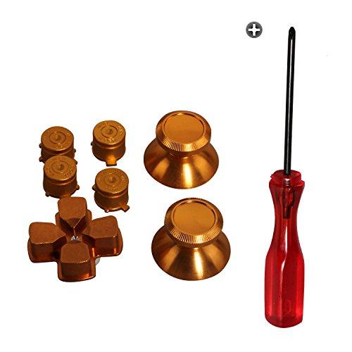 Timorn Piezas de Repuesto de Palillos de Metal de Aluminio D-Pad Botones de Bala Mod Kit para Playstation 4 PS4 Controller (Conjunto Oro)