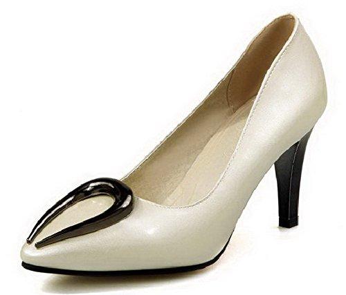 VogueZone009 Femme Stylet Couleur Unie Tire Pointu Chaussures Légeres Beige
