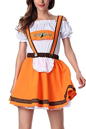 YACUN Damen Rock Kostüm Bayerischen Dirndl Oktoberfest Kleid Gelb M