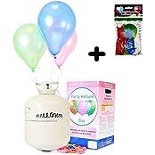 Helium Ballongas XXL 420 Liter wegwerf Heliumbehälter - Partyset inklusive 50 Luftballons & 5 Trendario LED Ballons