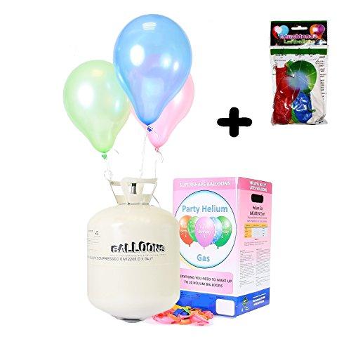 Preisvergleich Produktbild Helium Ballongas XXL 420 Liter wegwerf Heliumbehälter - Party set inklusive 50 Luftballons & 5 Trendario LED Ballons
