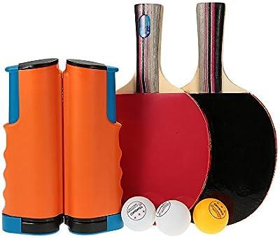 TOMSHOO Portátil Conjunto de Ping-pong, 1 Par de Palo + 3 Bolas + 1 Net