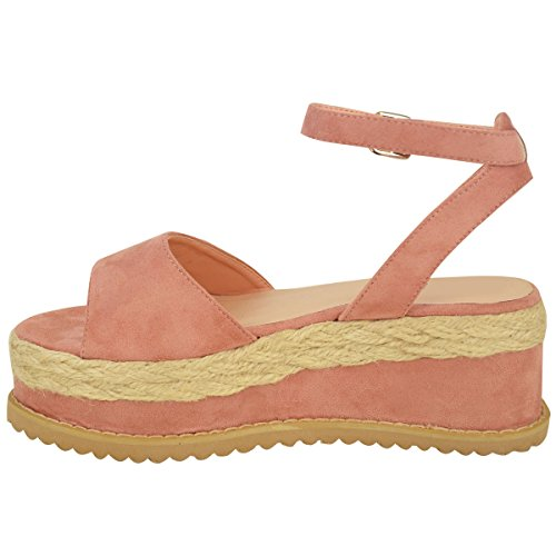 Nuovo Da Donna Grosso Espadrille Sandali Con Cinturino Forma Piatta Scarpe Zeppa Misura pastello rosa camoscio sintetico