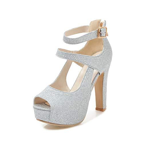 MENGLTX 2019 Marke große Größe 31-43 Bling oberen Frauen Schuhe Mode High Heels Party Hochzeit Braut Sommer Sandalen 6 Silber (Bling Hochzeit Schuhe)