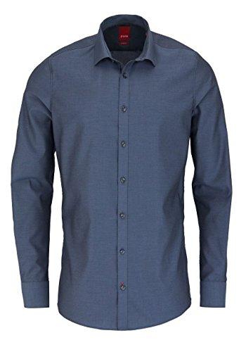 PURE Slim Fit Hemd Langarm ohne Brusttasche New Kent Kragen dunkelgrau Größe S