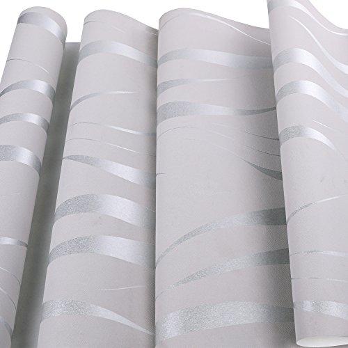 *Homdox Tapete Vliestapete Einfache moderne Tapeten Wandtapete für Wohnzimmer, Schlafzimmer und TV Hintergrund (Silber)*