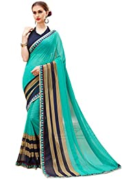 Oomph! Women's Georgette Sarees Party Wear/Fancy Georgette Sarees/Printed Georgette Sarees - Aquamarine Blue &...