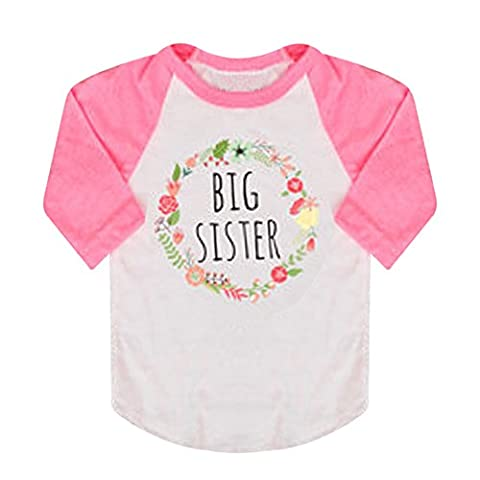 Funoc Cotton Big Sister T-Shirts Long Sleeve Tops Novelty Outfits Clothing for 0-5 Years Baby Girl Toddler (Pink) (90)