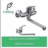 S-D SHOP - MISCELATORE RUBINETTO MONOCOMANDO LAVELLO CUCINA CANNA ALTA CROMATO MURO